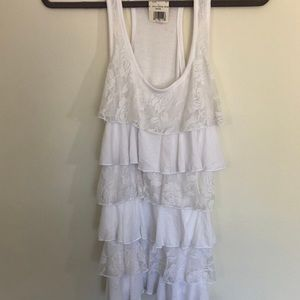 Color story tiered blouse lace racer back